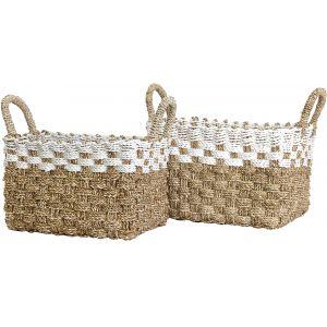 Zanzibar Basket Seagrass-white Set/2