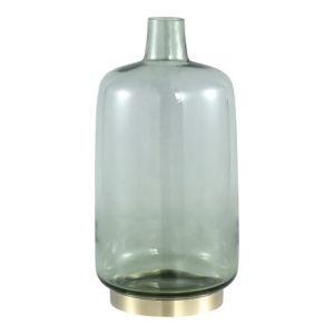 PTMD Jaira Green glass vase gold base round L