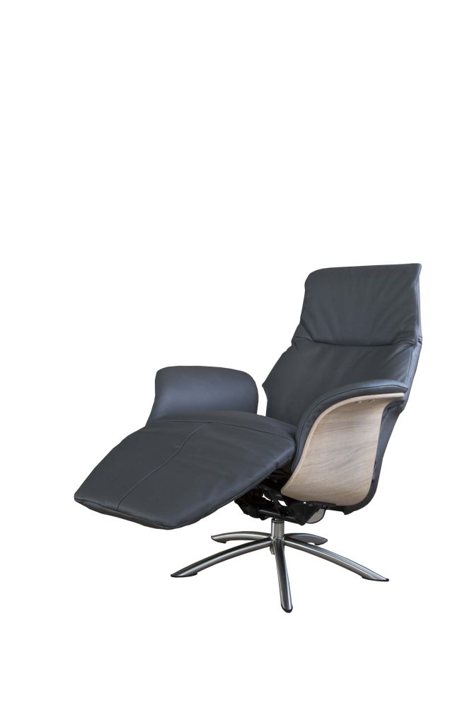Relaxfauteuil Dream Antraciet/Hout Large
